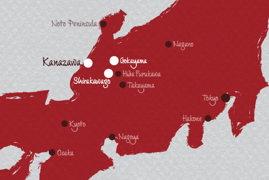 Map Kanazawa Shirakawago and Gokayama