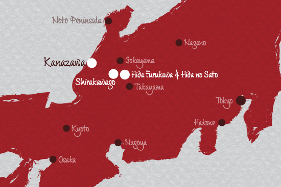 Map Shirakawago hida furukawa and hida no sato